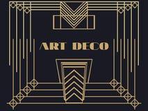 Art deco frame. Art deco geometric vintage frame. Retro style background. Style 1920's, 1930's. Stock Photography