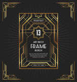 Art deco frame design for your design. Such as invitation, print, banner, poster. Vector illustration royalty free stock photo