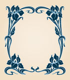 Art deco frame with iris. Royalty Free Stock Photos