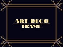 Art deco frame. Vintage linear border. Design a template for invitations, leaflets and greeting cards. The style of the 1920s. 1930s. Vector illustration Royalty Free Stock Photos