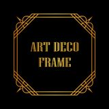 Art deco frame. Vintage retro golden frame in Art Deco style. Template for design Royalty Free Stock Photography