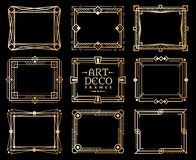 Art deco frames. Gold gatsby deco frame border, golden romantic invitation line pattern. 1920s retro luxury art design