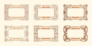 Art Deco Frames. Set of Art deco borders and frames. Creative template in style of 1920s for your design. Vector illustration. EPS 10 vector illustration