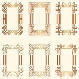 Art Deco Frames. Set of Art deco borders and frames. Creative template in style of 1920s for your design. Vector illustration. EPS 10 stock illustration