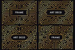 Art deco frames. Vintage golden line border, decorative gold ornament and luxury abstract geometric frame borders vector. Art deco frames. Vintage golden line royalty free illustration