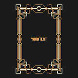 Art Deco geometric border. On dark background. Vertical rectangular frame Royalty Free Stock Image