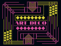 Art deco geometric frame. Retro background in style 1920s, 1930s. Vector Royalty Free Stock Photos