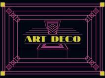 Art deco geometric frame. Retro background in style 1920's, 1930's. Vector Stock Photo