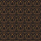 Art deco geometric pattern golden lines black background. Art Deco design gold pattern on black background. Ideal for wallpaper, backdrop Royalty Free Stock Images