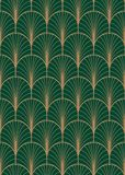 Art deco geometric seamless vector pattern. Gold and green peacock abstract feathers texture Royalty Free Stock Photography