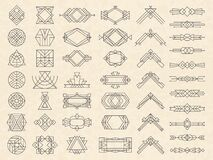 Art deco geometrical shapes. Modern design elements for emblems and logotypes triangles circles dividers frames and