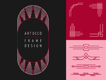 Art deco geometry frame set mono line elements Royalty Free Stock Photos