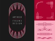 Art deco geometry frame set mono line elements Royalty Free Stock Photos