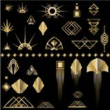 Art Deco-geplaatste malplaatje gouden-zwarte DIY elementen vector illustratie