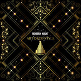 Art Deco Golden Bckground With Pattern And Building Royalty Free Stock Photography