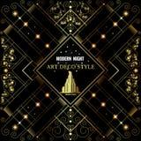 Art deco gouden bckground met patroon en de bouw Royalty-vrije Stock Fotografie