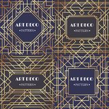 Art Deco granica Splendoru deseniowy retro przyjęcie obramia tło, dekoracyjny granica wektoru set ilustracji