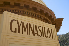 Art deco Gymnasium building marquee sign royalty free stock photo
