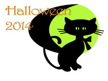 Art deco halloween invitation. A clean art deco style Halloween 2014 invitation with black cat and green crescent moon Royalty Free Stock Images