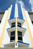 Art Deco Hotel Facade. Close-up image of a South Beach Art Deco Hotel Facade on Ocean Drive stock photos