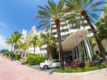 Art Deco hotels at Collins Avenue in Miami Beach Stock Photo