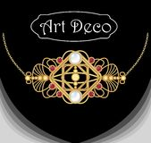 Art deco jewel. Vintage gold necklace. Jewel in victorian style. Royalty Free Stock Photography