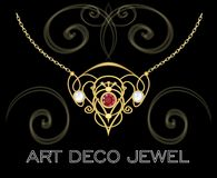 Art deco jewel. Vintage gold necklace in victorian style. Retro filigree . Antiquarian jewelry. Ancient vector object Royalty Free Stock Photography