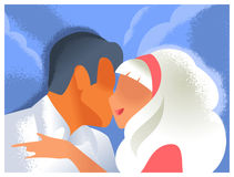 Art deco kissing couple. Valentine's day illustration Royalty Free Stock Photo