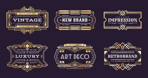 Art deco labels. Vintage ornamental logos, 1920s vintage golden badge, nouveau decorative banners. Vector art deco