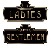 Art Deco Ladies and Gentlemen Restroom Signs. Vintage Antique Gold and Black 1920s 1930s 1940s theater vector illustration