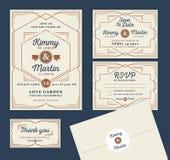 Art Deco Letterpress zaproszenia Ślubny projekt Zdjęcia Royalty Free