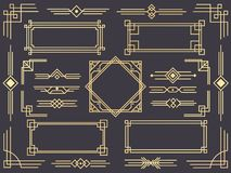Art deco line border. Modern arabic gold frames, decorative lines borders and geometric golden label frame vector design