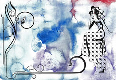 Art deco line illustration. Decoration background with watercolour background stock illustration