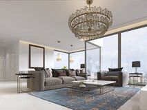 Art deco living room with gorgeous large windows and beautiful views, gilded metal chandelier. 3D rendering stock illustration