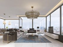 Art deco living room with gorgeous large windows and beautiful views, gilded metal chandelier. 3D rendering royalty free illustration