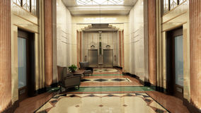 Art Deco Lobby. An Art Deco Lobby interior with elevators and offices Stock Photo