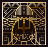 Art Deco 8 Marzec karta Obraz Stock