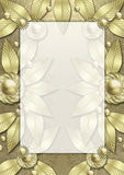 Art Deco Metallic Leaf frame. A very elegant, expensive looking metallic frame that is layered with metallic leaves and flowers styled after the architectural Royalty Free Stock Image