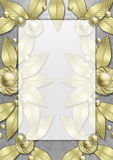Art Deco Metallic Leaf frame stock photo