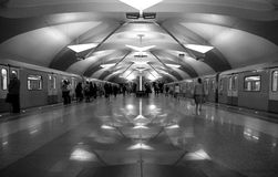 Art deco metro station in Moscow stock images