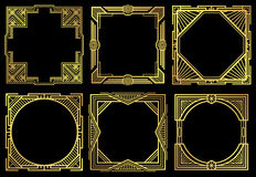 Art deco nouveau border frames in 1920s style vector set. Frame of ornament design, illustration oif golden retro frames Stock Image
