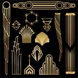 Art Deco Art Nuevo geometriska beståndsdelar, ramtrianglar, cirklar DIY-uppsättning av ramar Stora Gatsby, festar den guld- ramen stock illustrationer