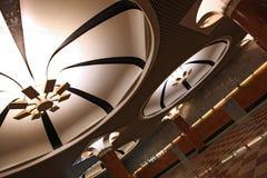 Art deco overhead lights at metro station stock photos