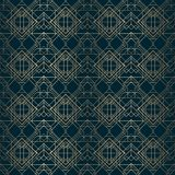 Art deco pattern gold lines dark background Royalty Free Stock Image