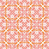 Art deco pattern with organic floral shapes. Geometric art deco pattern with organic floral shapes in bright coral red color Vector Illustration