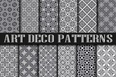 Art Deco Patterns. Set. Vintage backgrounds. Fan scales ornaments. Geometric decorative digital papers. Vector line design. 1920-30s motifs. Luxury vintage Royalty Free Stock Images