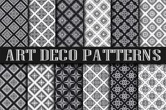Art Deco Patterns. Set. Vintage backgrounds. Fan scales ornaments. Geometric decorative digital papers. Vector line design. 1920-30s motifs. Luxury vintage Stock Photos
