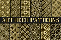 Art Deco Patterns. Set. Vintage backgrounds. Fan scales ornaments. Geometric decorative digital papers. Vector line design. 1920-30s motifs. Luxury vintage Royalty Free Stock Photo