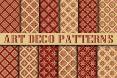 Art Deco Patterns. Set. Vintage backgrounds. Fan scales ornaments. Geometric decorative digital papers. Vector line design. 1920-30s motifs. Luxury vintage Stock Images