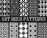 Art Deco Patterns. Big vector set of seamless patterns in art deco retro vintage style. Creative templates in style of 1920s. Vector illustration Royalty Free Stock Images